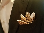 Double Sided Black, Brown and White Pocket Square