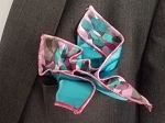 Double Sided Aqua, Pink and Grey Pocket Square