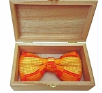 Atiase Orange Pre-Tied Bow Tie with yellow and red