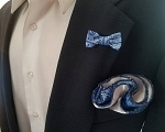 Double Sided Blue and Silver Paisley Pocket Round