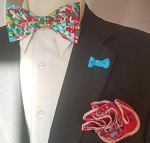 Perky Bow Tie with Matching Pocket Round and Lapel Button