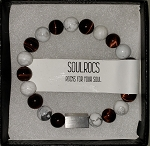 SoulRocs Bracelets- Red Tiger Eyes with Howlite (White Bead)