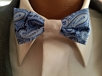 Silver and Blue Paisley Child's Bow Tie