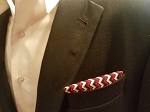Double Sided Red, White and Black Pocket Square